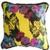 Жълта декоративна възглавница с цветя и черни ресни